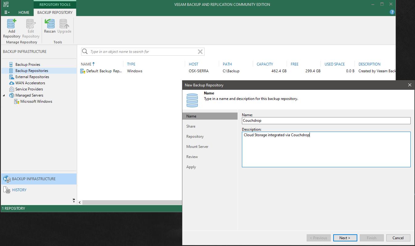 configuring Veeam backups