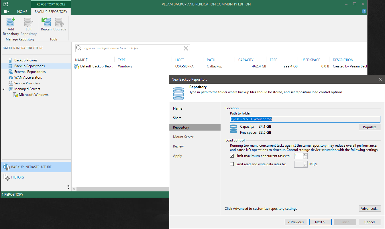 backing up Veeam to cloud storage