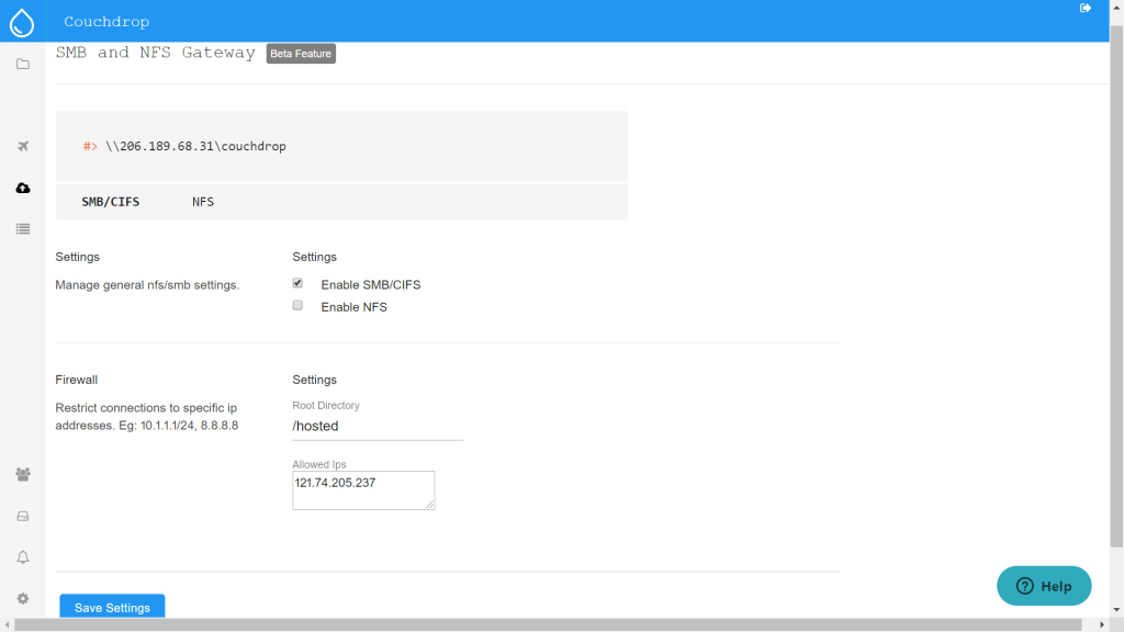 Configuring SMB/NFS cloud gateway with Couchdrop